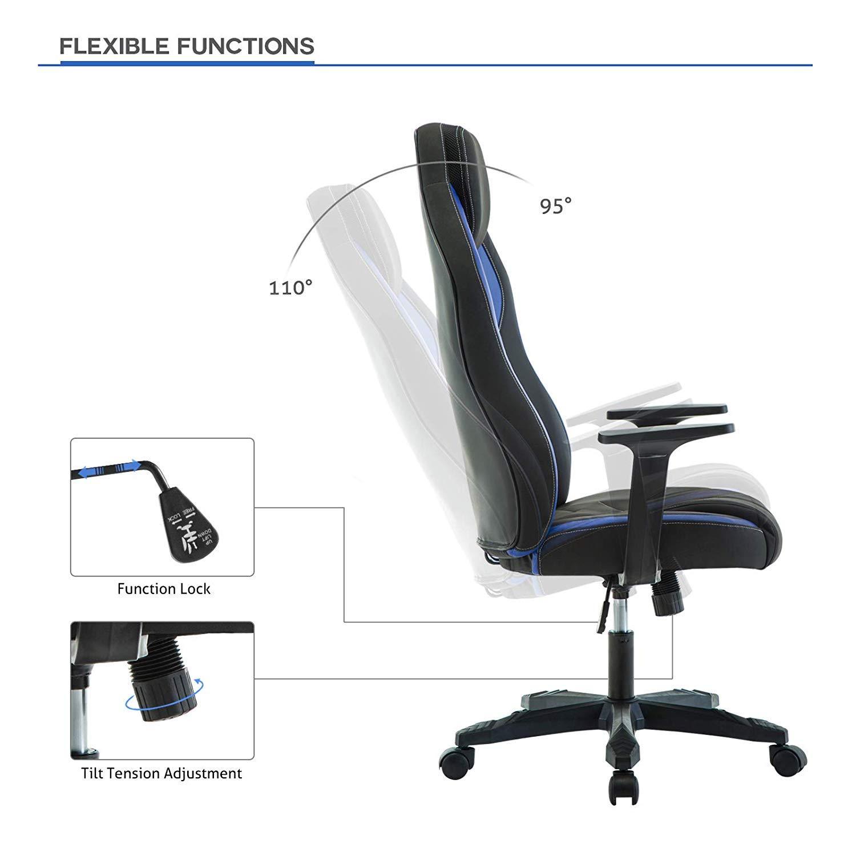 Chaise de Gamer Ergonomique, Fauteuil de Bureau Pivotant, Dossier Haut, Assis Rembourré, Hauteur Réglable (Bleu) IntimaTe WM Heart