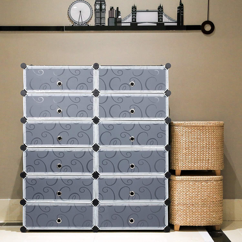 Meuble Chaussure Pour Placard meuble à chaussures en plastique armoire 12 cubes etagère de