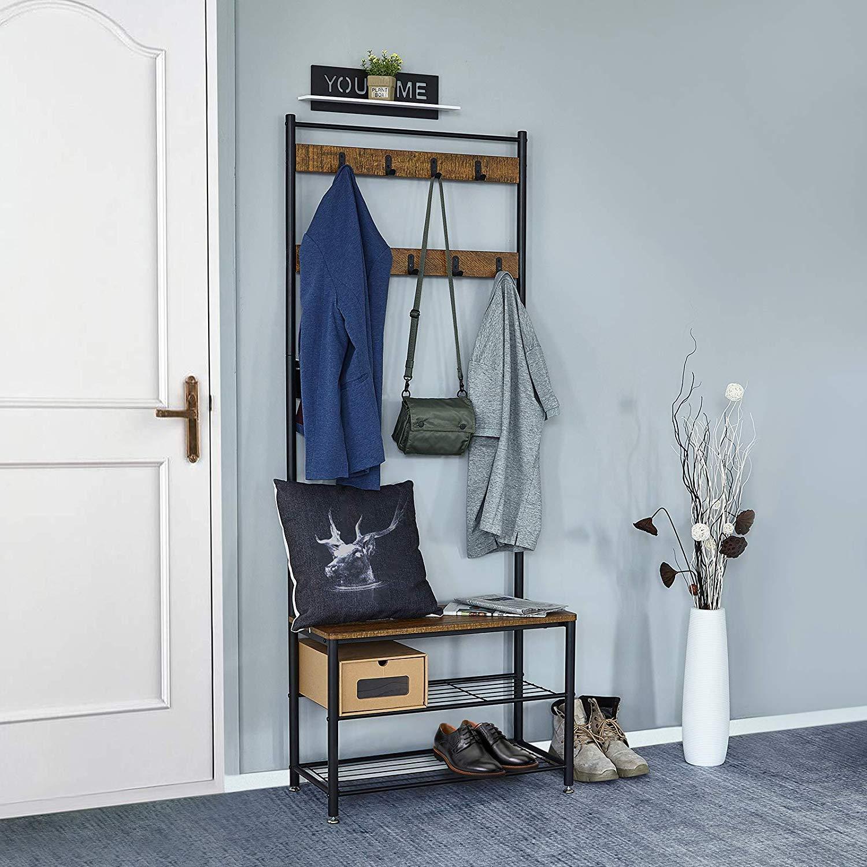 Meuble Rangement Chaussures Entree porte-manteau portant vestiaire vintage à 3 niveaux garde